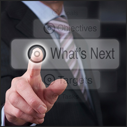 Photo graphic with businessman selecting 'what's Next' button in second person point of view