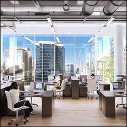 Highrise office enviornment with view looking through to cityscape