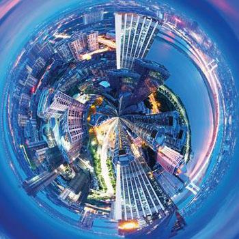 warped city view, fisheye lens