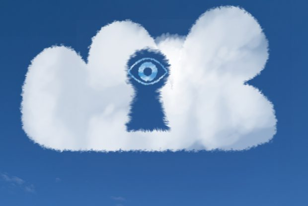 Cloud eye looking through cloud keyhole